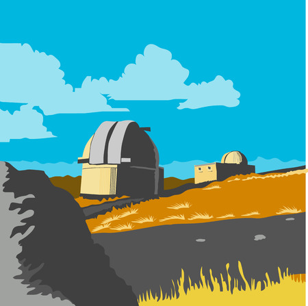 WPA style illustration of University of Canterbury Mt John Observatory located in Lake Tekapo ,New Zealand done in retro style.