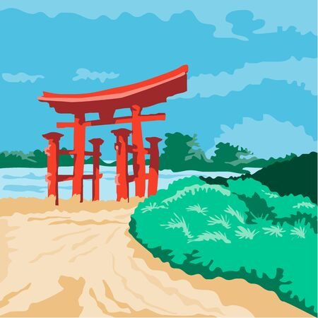 WPA style illustratoin of a Torii , a traditional Japanese gate most commonly found at the entrance of or within a Shinto shrine done in retro style.