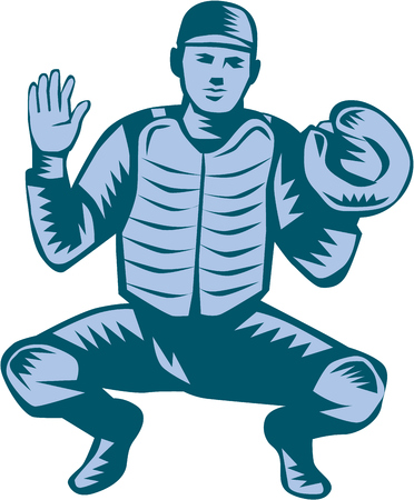 baseball catcher: Illustration of a baseball catcher with gloves facing front in a squat position set on isolated white background done in retro woodcut style. Illustration