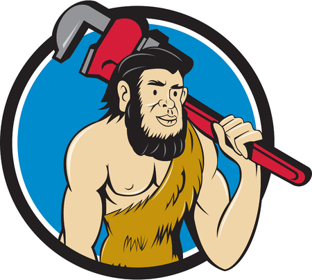 neanderthal man: Illustration of a neanderthal man or caveman plumber holding monkey wrench on shoulder set inside circle on isolated background done in cartoon style.