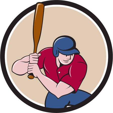 hitter: Illustration of an american baseball player batter hitter with bat batting viewed from high angle set inside circle done in cartoon style isolated on background.