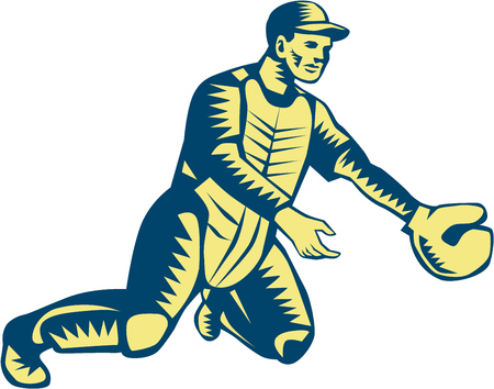 baseball catcher: Illustration of a baseball catcher with gloves catching set on isolated white background done in retro woodcut style.