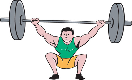 strong men: Illustration of a weightlifter deadlift lifting weights viewed from front set on isolated white background done in cartoon style.