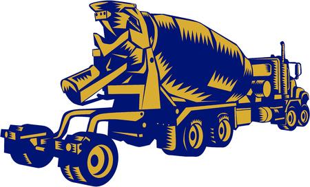 cemento: Ilustración de un vehículo camión de cemento se ve desde retroperforador sobre fondo blanco aislado hecho en estilo retro grabado en madera. Vectores