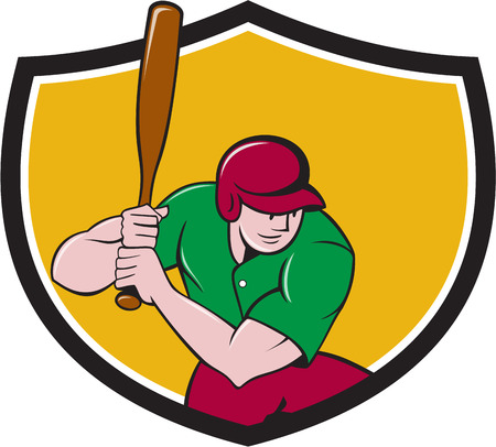 hitter: Illustration of an american baseball player batter hitter with bat batting viewed from high angle set inside shield crest done in cartoon style isolated on background.