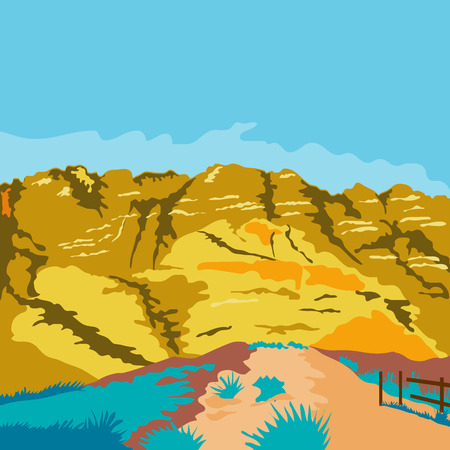 public works: WPA style illustration of Red Rock Canyon Nevadas first National Conservation Area in the Mojave Desert done in retro style.