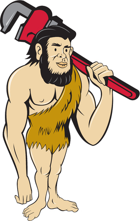 neanderthal man: Illustration of a neanderthal man or caveman plumber holding monkey wrench on shoulder set on isolated white background done in cartoon style.
