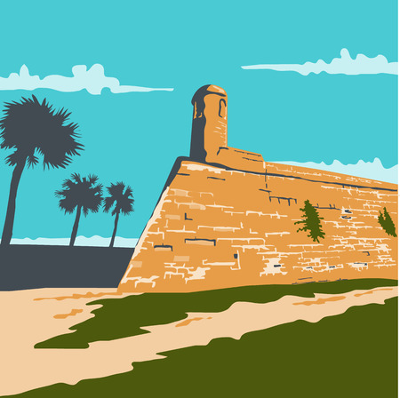 WPA style illustration of Fort Marion in St. Augustine, Florida, United States the oldest place of European settlement on the North-American Continent done in retro style.