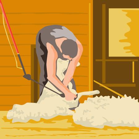 ovejas bebes: Ilustración estilo de WPA de un trabajador agrícola, granjero, labriego utilizando tijeras de esquila la lana de ovejas visto de frente hecho en estilo retro.