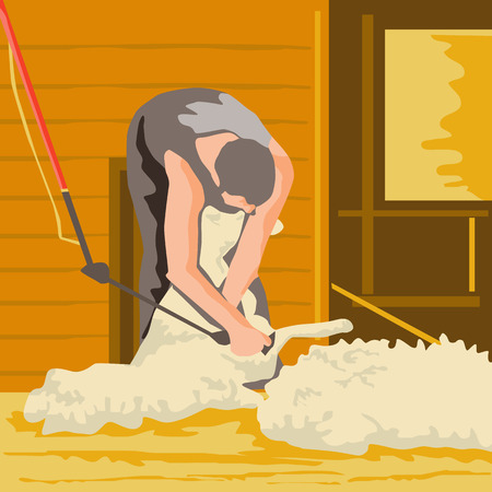 sheer: WPA style illustration of a farmworker, farmer, farmhand using shears shearing wool from sheep viewed from front done in retro style. Illustration