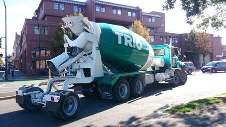 truck concrete mixer: SAN FRANCISCO, OCT. 16: Cement Truck Concrete Mixer parked in downtown San Francisco, California, United States taken on Oct. 16, 2015. Editorial