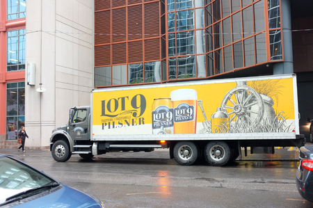 pilsner: NEW YORK, SEP. 30: Lot 9 Pilsner truck and Trailer delivery truck parked in downtown New York City, New York, United States taken on Sep. 30, 2015.