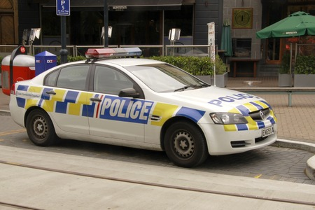 new car: CHRISTCHURCH, DEC. 7: Christchurch police squad car parked in the streets of downtown Christchurch, New Zealand taken on Dec. 7, 2010.