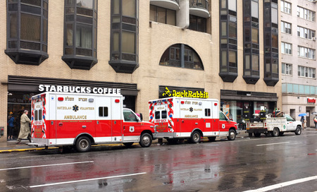 sates: NEW YORK, OCT.3: EMS emergency vehicle ambulance parked in downtown New York City, New York, United Sates taken on Oct. 3, 2015.