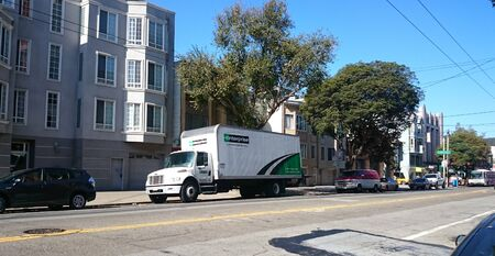 cartage: SAN FRANCISCO, OCT. 22: Truck and Trailer delivery truck parked in downtown San Francisco,California, United States taken on Sep. 30, 2015.