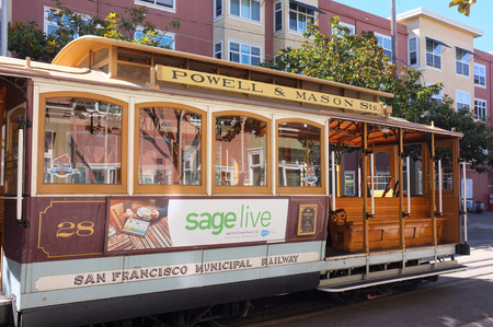 railway transportation: SAN FRANCISCO, SEP. 22: San Francisco Municipal Railway Streetcar Tram Cable parked in downtown San Francisco, California, United States taken on Sep. 22, 2015.