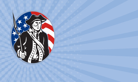 bayonet: Business card showing illustration of an American patriot minuteman revolutionary soldier with musket bayonet rifle and stars and stripes flag set inside ellipse done in retro style.