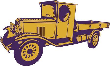 camioneta pick up: Ilustración de una vendimia 1920 del camión de recogida visto desde el lado en el fondo aislado hecho en estilo retro grabado en madera. Foto de archivo
