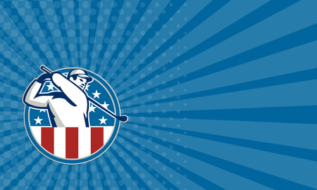 club: Business card showing illustration of an American golfer playing golf swinging club set inside circle with USA stars and stripes flag on isolated background.