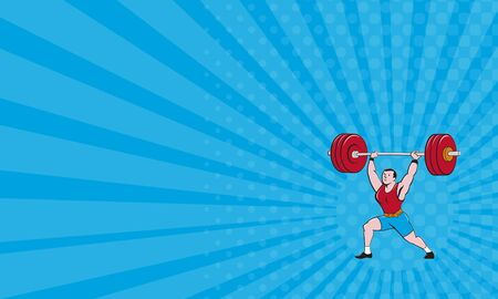 strong men: Business card showing illustration of a weightlifter lifting barbell weights set on isolated white background done in cartoon style.