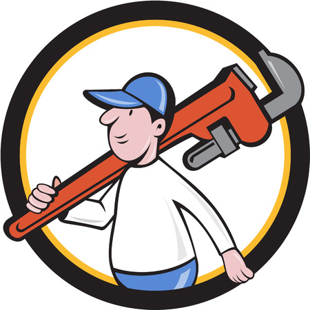 monkey wrench: Illustration of a plumber holding monkey wrench on shoulder walking viewed from side set inside circle on isolated background done in cartoon style.