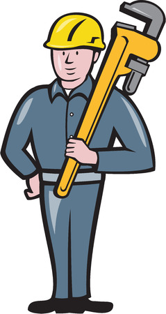 adjustable wrench: Illustration of a plumber wearing hardhat standing holding carrying monkey adjustable wrench on shoulder viewed from front side set on isolated white background done in cartoon style. Stock Photo