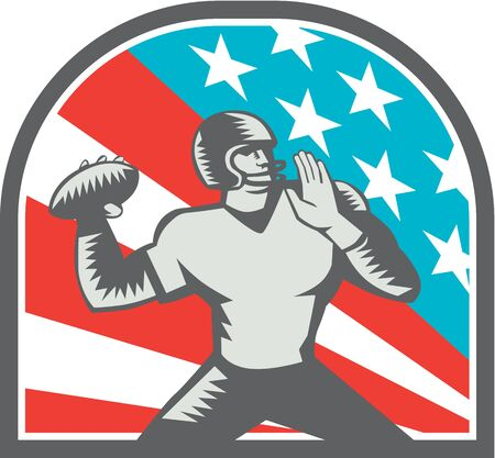 Illustration of an american football gridiron quarterback player throwing ball viewed from the side side set inside crest shield with usa stars and stripes flag in background done in retro woodcut style. Stock Photo