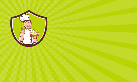 pointing up: Business card showing illustration of a chef cook pointing up and holding bowl of soup with other hand set inside shield crest on isolated background done in cartoon style.