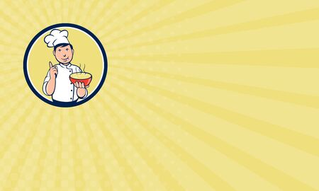 soup bowl: Business card showing illustration of a chef cook pointing up and holding bowl of soup with other hand set inside circle on isolated background done in cartoon style.