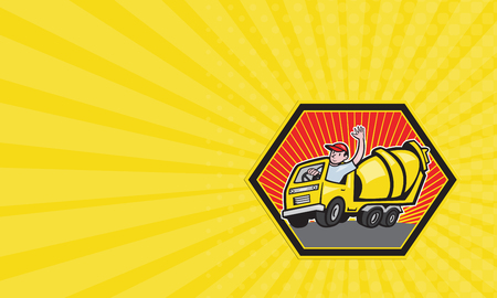 truck driver: Business card showing illustration of a construction worker driver driving a cement truck done in cartoon style.