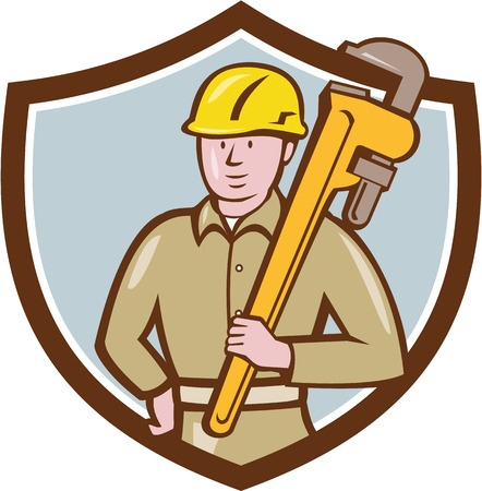 shoulder carrying: Illustration of a plumber wearing hardhat holding carrying monkey adjustable wrench on shoulder viewed from front side set inside shield crest on isolated background done in cartoon style.