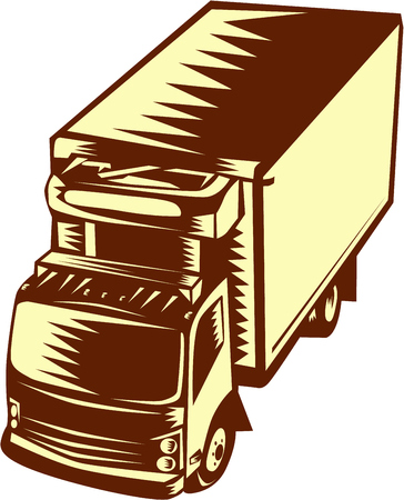 refrigerated: Illustration of a refrigerated truck viewed from hi-angle set on isolated background done in retro woodcut style.