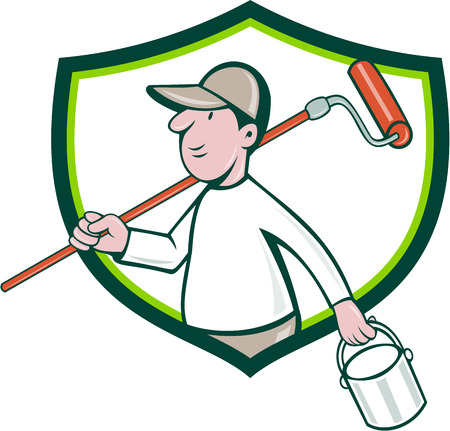 house painter: Illustration of a house painter handyman holding paintroller on shoulder and paint can on the other hand viewed from the side set inside shield crest on isolated background done in cartoon style.