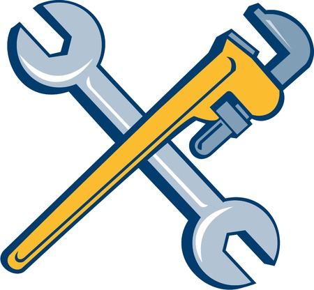 mechanic: Illustration of a plumbers monkey wrench and mechanics spanner crossed set inside on isolated white background done in cartoon style. Stock Photo