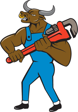 nose ring: Illustration of a minotaur bull plumber in overalls holding adjustable wrench standing looking to the side set on isolated white background done in cartoon style. Stock Photo