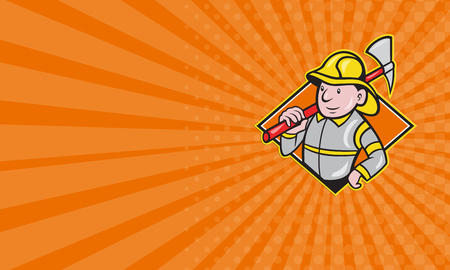 Fireman: Business card showing illustration of a fireman fire fighter emergency worker with fire ax done in cartoon style set inside diamond shape. Stock Photo
