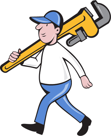 monkey wrench: Illustration of a plumber holding monkey wrench on shoulder walking viewed from side set on isolated white background done in cartoon style. Stock Photo