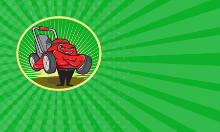 lawn mower: Business card showing illustration of lawn mower man smiling standing with arms folded facing front done in cartoon style set inside oval with sunburst in the background.