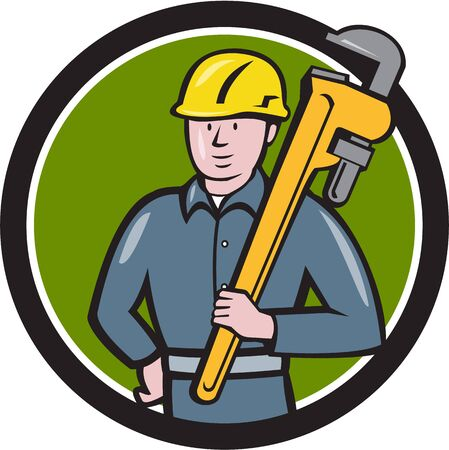 adjustable wrench: Illustration of a plumber wearing hardhat holding carrying monkey adjustable wrench on shoulder viewed from front side set inside circle on isolated background done in cartoon style.