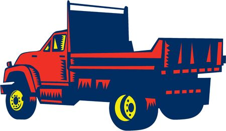 woodblock: Illustration of a flatbed truck viewed from rear set on isolated white background done in retro woodcut style. Stock Photo