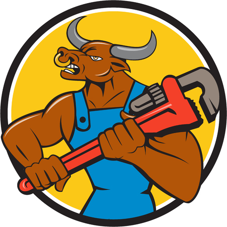 nose ring: Illustration of a minotaur bull plumber in overalls holding adjustable wrench looking to the side set inside circle on isolated background done in cartoon style.