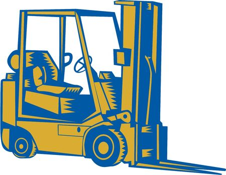 forklift truck: Illustration of a forklift truck viewed from the side set on isolated white background done in retro woodcut sytle. Stock Photo