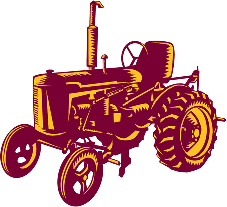 linocut: Illustration of a vintage farm tractor set on isolated white background done in retro woodcut style.