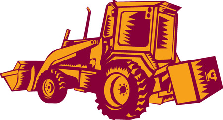 woodblock: Illustration of a construction digger mechanical excavator viewed from side rear set on isolated white background done in retro woodcut style.
