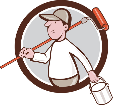 paintroller: Illustration of a house painter holding paintroller on shoulder and paint can on the other hand viewed from the side set inside circle on isolated background done in cartoon style.