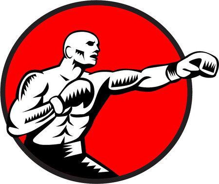 punched: Illustration of a boxer wearing boxing gloves jabbing punching boxing viewed from the side set inside circle done in retro woodcut style. Stock Photo
