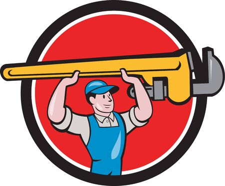 monkey wrench: Illustration of a plumber in overalls and hat lifting giant monkey wrench over head looking to the side viewed from front set inside circle on isolated background done in cartoon style.