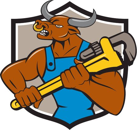 Illustration of a minotaur bull plumber in overalls holding adjustable wrench looking to the side set inside shield crest on isolated background done in cartoon style.
