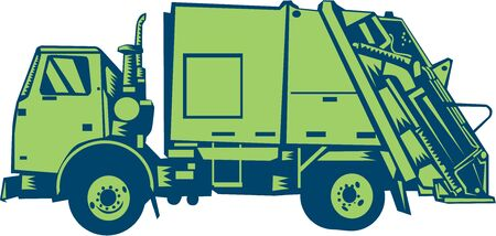 printmaking: Illustration of a garbage truck rear end loader viewed from the side set on isolated white background done in retro woodcut style. Stock Photo