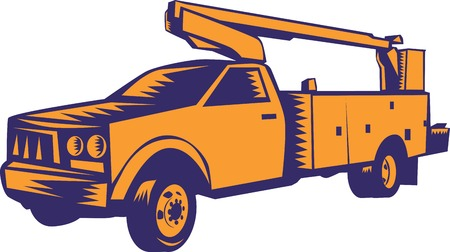 hoisting: Illustration of a cherry picker mobile lift truck viewed from side set on isolated white background done in retro woodcut style. Stock Photo